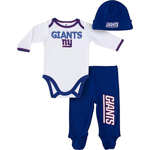 Gerber Childrenswear NFL New York Giants Boys 2018Bodysuit Footed Pant & Cap Set, Blue, 3-6 Months by Gerber Childrenswear