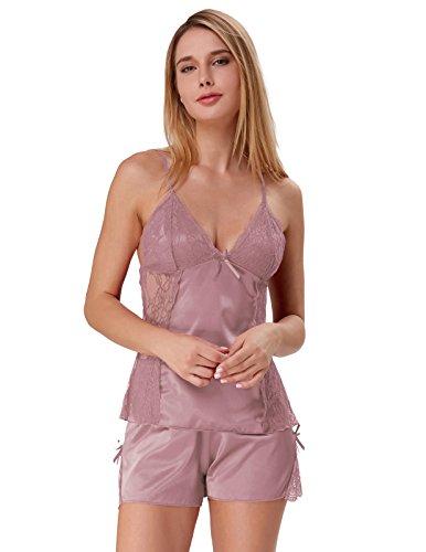 Women Satin Lingerie Comfy Pajama Set Charmeuse Nightwear Coffee Size L ZE55-4