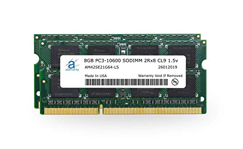 Adamanta 16GB (2x8GB) Memory Upgrade Compatible for Apple iMac, MacBook Pro, Mac Mini DDR3 1333Mhz PC3-10600 SODIMM 2Rx8 CL9 1.5v DRAM ()