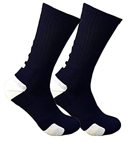 Cushioned 3/4 Crew Compression Basketball Socks (Black/Grey)