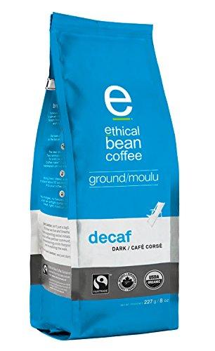 Ethical Bean Coffee Decaf, Dark Roast, Ground, 8-Ounce Bag
