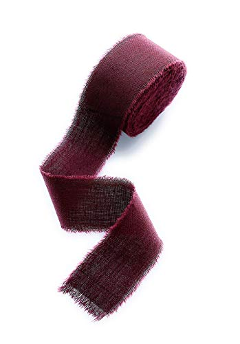 Burgundy ribbon Cotton frayed edges hand dyed 1'' x 5 yards in roll Rustic wedding invitation ribbon, favors wrap and bouquet supplies