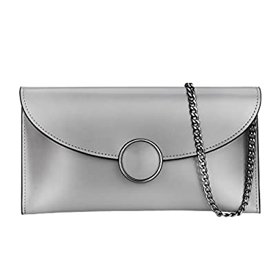 BeZero Womens Genuine Leather Clutch Purses, Multiple USES Simple Style Envelope Crossbody Bags, Tote Wristlet Wallet Shoulder bag with Detachable Chain Strap