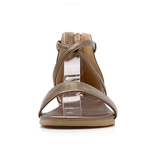 Low Heels Zipper Khaki Women's Toe Materials Open Blend VogueZone009 Color Sandals Assorted 7f6SO
