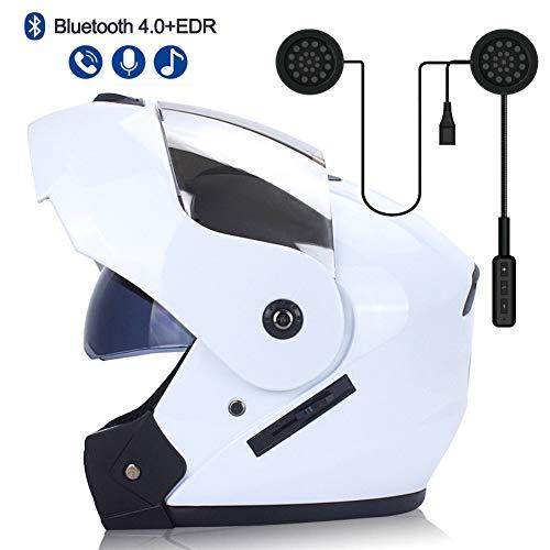 MOPHOTO Full Face Motorcycle Bike Helmet w/Bluetooth Headset, Modular Flip Up Dual Visor Motorcross Helmets for Men/Women (White+Silver w/Headset, Large (59-60cm))