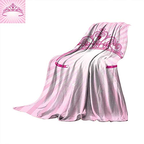 Kids Super Soft Lightweight Blanket Beautiful Pink Fairy Princess Costume Print Crown with Diamond Image Art Lightweight Extra Big 90