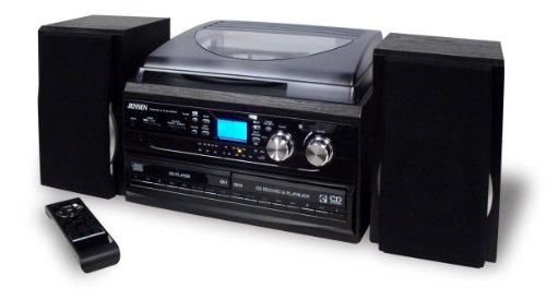 JENSEN JTA-980 3-SPEED TURNTABLE 2-CD SYSTEM WITH CASSETTE & AM/FM STEREO RADIO by Jensen