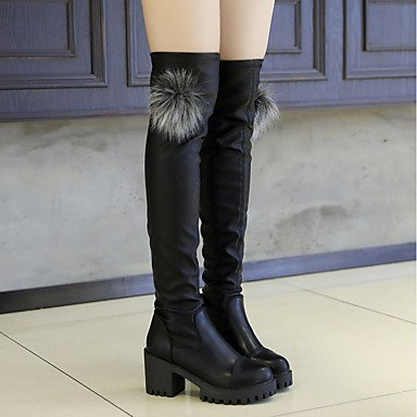 Chunky amp;xuezi 1in Heel 4in Dress Gll 1 Black Black Casual Boots Winter Fashion 3 Fall Women's PU Boots OwvngwpqPd