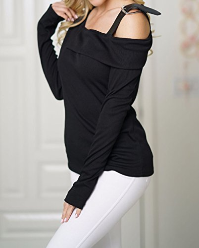 Mode Noir Hauts Pulls Manches Jumpers Nu Pullover Blouse Tee Femmes Tops Epaule Longues IaSgqI