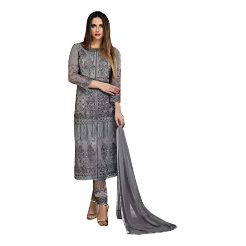 Grey Fringe Straight Party Cut Work Pants Punjabi Salwar Kameez Suit Indian Festival Rakhi Hit
