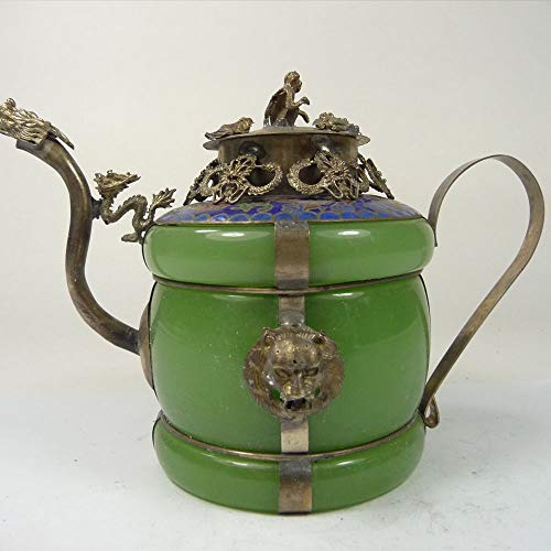 ZAMTAC Collectible Old China Green Jade teapot Armored Silver Dragon Lion Monkey lid