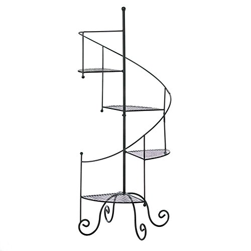 - Maximumstore - Spiral Staircase 4 Tier Shelf Flower Pot Planter Shelves Pedestal
