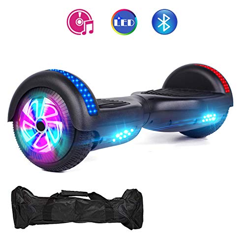 VEVELINE Black Two-Wheel Self Hoverboard Balancing Electric Scooter with Built-in Bluetooth Speaker LED Wheels and LED Side Lights -UL 2272 Certified