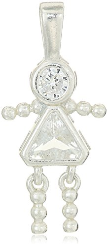 Sterling Silver AAA Cubic Zirconia Simulated Birthstone Babies Girl Charm, April