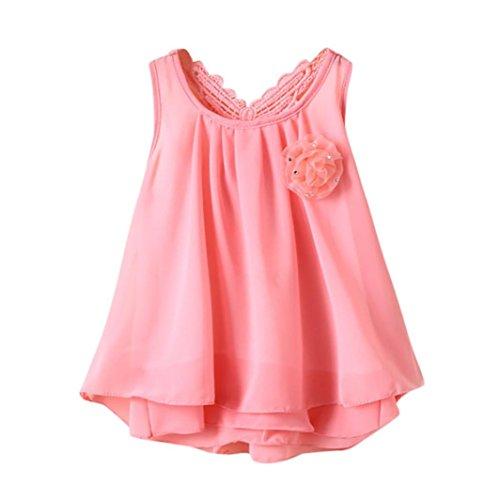 Sannysis Baby Kleider, Neugeborenen Kleinkind Baby Mädchen Solide Blumendes Rückenfreies Freizeitkleid/Schmetterlingsblüte Prinzessin Kleid Rosa