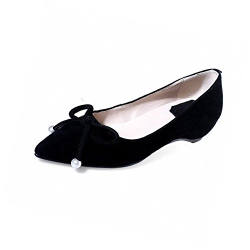 Closed AllhqFashion Frosted Pumps Low Toe Black On Shoes Pull Womens Heels Solid Pointed 4AZUf4