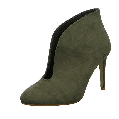 Lucky shoes B-51 Damen Schlupf/Reißverschlussstiefelette Kaltfutter Braun (Grün)
