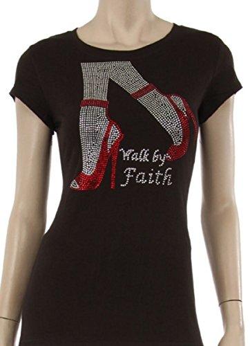 Diva T-shirt Rhinestone - L'Diva Couture Boutique Walk by Faith T-Shirt, Walk by Faith Rhinestone T-Shirt for Women (XLarge) Black