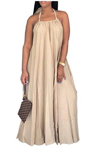 Coolred-femmes Grand Ourlet Col Haut Dos Nu Détendue Robes Pleine Longueur Kaki