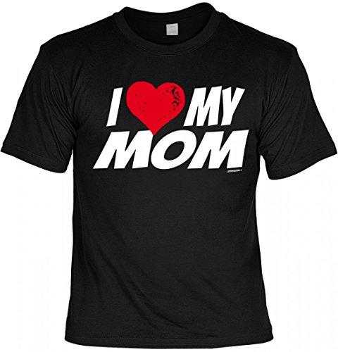 T-Shirt Mutter Mama Mami - I love my Mom - Geschenk Idee mit Humor zum Muttertag oder Geburtstag - schwarz