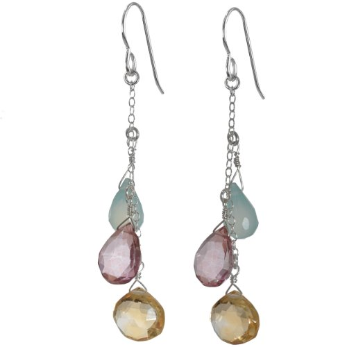 ASHANTI Citrine, Pink Quartz and Aqua Chalcedony Briolette Natural Gemstone Sterling Silver Handmade Earrings
