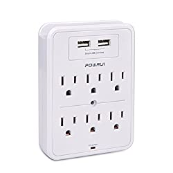 Surge Protector, POWRUI USB Wall Charger with 2 USB charging ports(smart 2.4A Total), 6-Outlet Extender and Top Phone Holder for iPhone iPad and more, White