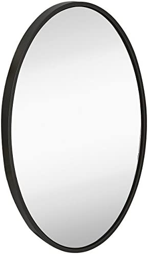 Hamilton Hills Clean Large Modern Black Oval Frame Wall Mirror