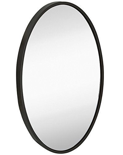 Hamilton Hills Clean Large Modern Black Oval Frame Wall Mirror | 24