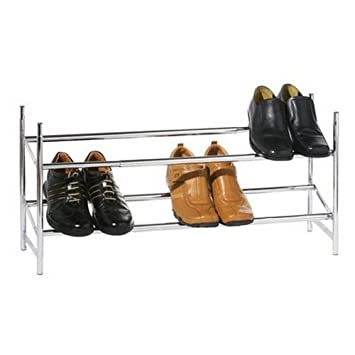 Awesome 2 Tier Extending Adjustable Shoe Rack   Chrome