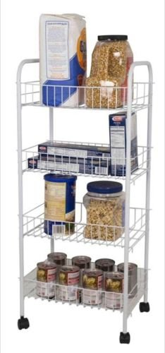 Chic Design 4 Tier White Kitchen with 4 Baskets or Laundry Trolley Perfect for Kitchen Storage.
