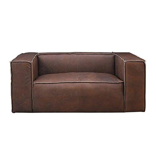 Clubsofa Bugatti Mocca Brown 2-Sitzer Sofa Couch Ledermöbel Loungesofa