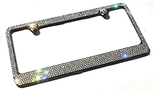 6 row clear crystal made w swarovski elements metal sparkle bling license plate frame caps set