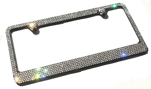Hotblings 6 Row CRYSTAL Made w/Swarovski Crystals Metal Bling License Plate Frame & Caps