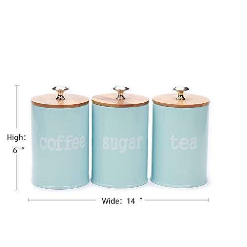 Blue Coffee Canister - Hot Sale X022S Set of 3 Metal Kitchen Food Storage Tin Canister/Jar/Container with Bamboo Lid (blue)