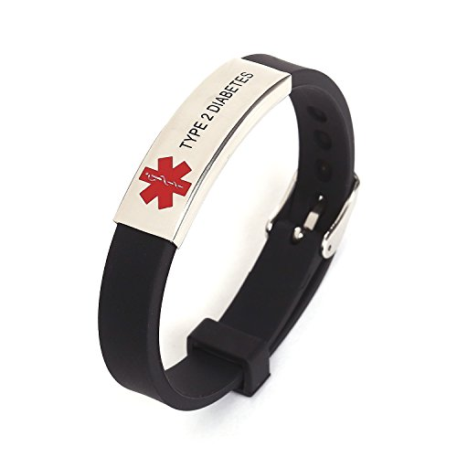 AOMZO JEWELRY Diabetes Type 2 Silicone Rubber Bracelet with Surgical Steel Medical Alert ID Adjustable Size by AOMZO JEWELRY