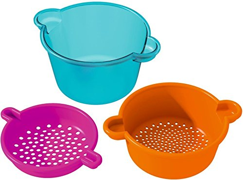 HABA Sand Sieve Magic - 3 Piece Set with Nesting Sieves and Transparent Observation Bucket 3 Piece Sieves