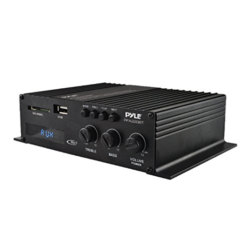 Pyle PFA220BT  Class-T Bluetooth Power Audio Amplifier - 120W Mini Dual Channel Sound Stereo Receiver Box w/ USB, RCA, 12V Adapter - For Subwoofer Speaker, Home Theater, PA System, Studio Use - ()