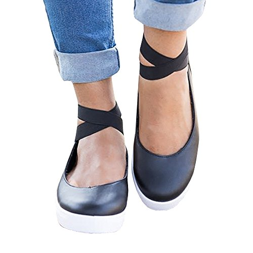 Ballerina Flat - Ferbia Womens Classic Ballerina Flats Elastic Crossing Ankle Straps Stretchy Ballet Shoes