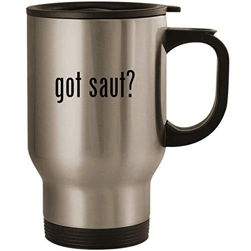 got saut? - Stainless Steel 14oz Road Ready Travel Mug, (3 Quart Saut Pan)