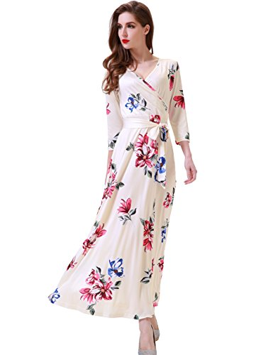 Maxi Floral Dress Silk (Melynnco Women's Floral Print 3/4 Sleeve Faux Wrap V Neck Maxi Dress Summer X-Large Apricot)