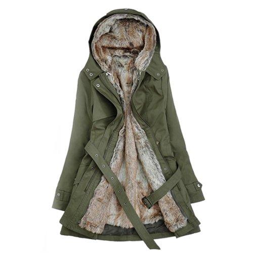 Imixcity Women's Girl Sale Long Jacket Thicken Coat (L, Army Green)