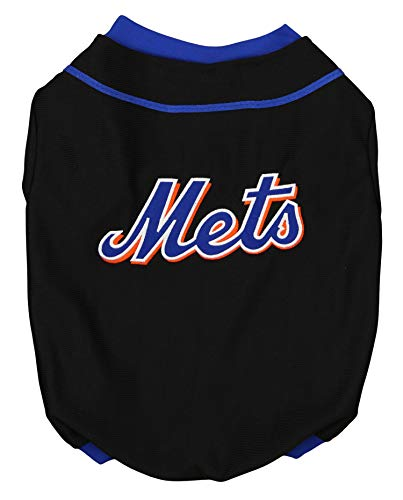 Sporty K9 MLB New York Mets Baseball Dog Jersey, Black Medium