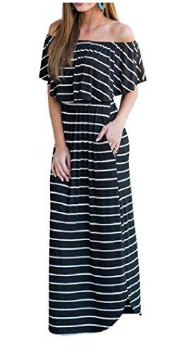 Longueur De Plancher Rayé Confortables Femmes, Plus La Taille De L'épaule Noire Robe Longue