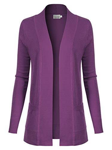 Design by Olivia Women's Open Front Long Sleeve Classic Knit Cardigan Ultra Violet M