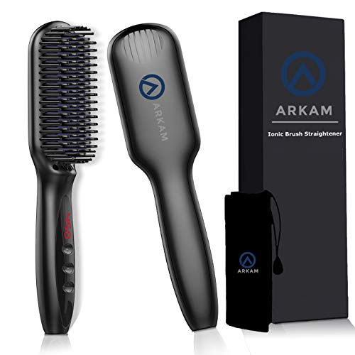 Arkam Beard Straightener Brush for Men - Premium Hair Straightening Brush and Beard Brush, Ionic Hair Styling Comb for Men and Women, Electric Heat Brush for Home or Travel, Electric Dual Voltage