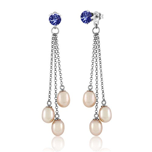Gem Stone King 0.92 Ct Round Blue Tanzanite AAAA Cultured Freshwater Pearl Silver Earrings