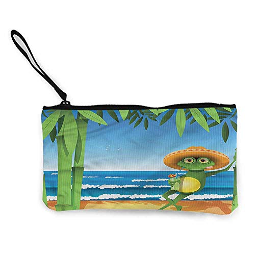 Women's Coin Pouches Animal,Frog on a Sandy Beach Summer W8.5