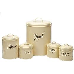 Hot Sale X687 Set of 5 Retro Metal Sugar Coffee Tea Storage Tin Canister Bread Bin/Box/Container Set(yellow)