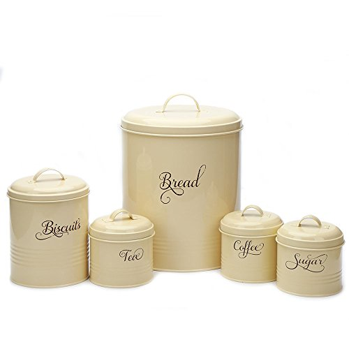 Hot Sale X687 Set of 5 Retro Metal Sugar Coffee Tea Storage Tin Canister Bread Bin/Box/Container Set(yellow) (Retro Set Canister)