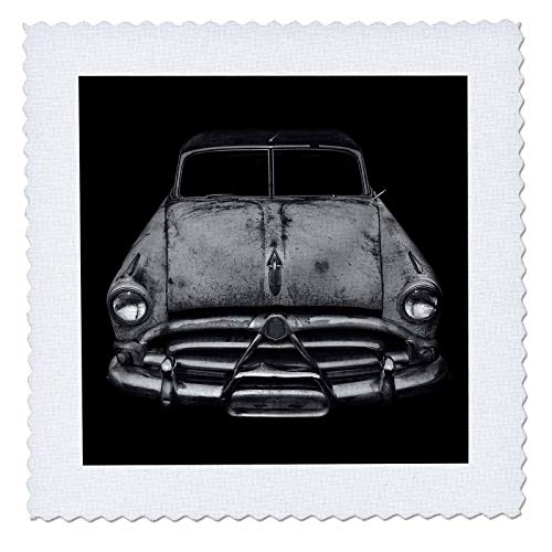 3dRose Stamp City - Transportation - Black and White Photograph of a Classic car Rusting Away in a car lot. - 25x25 inch Quilt Square - Classic Photographs